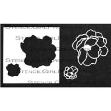 Stencilgirl 4x4 - Wild Rose Stencil with Masks