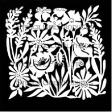 Stencilgirl 6x6 - Garden Flowers Tile Mask Small
