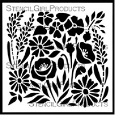 Stencilgirl 6x6 - Garden Flowers Tile Stencil Small